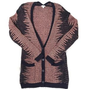 BP Nordstrom   Blue Coral Knit Cardigan Pockets